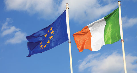 Ireland EU flags