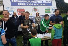Scott Brown Leigh Griffiths help out at helping hands