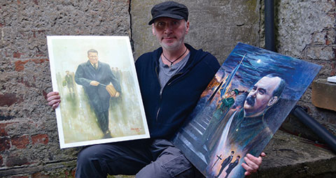 Sean Lyons with paintings